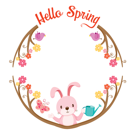 butterfly rabbit: Tree With Animal On Circle Frame, Spring Season, Lettering, Frame, Border, Animal, Nature