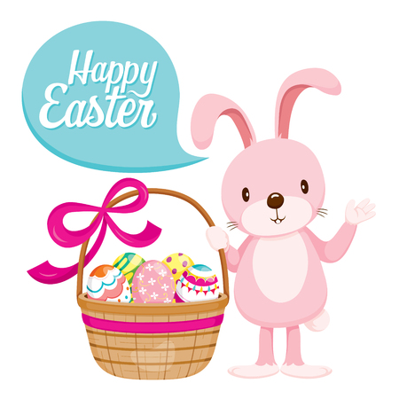 gift basket: Rabbit And Colourful Easter Eggs In Gift Basket With Ribbon, Easter, Spring Season, Animal, Nature, Decorating, Objects, Festive, Celebrations