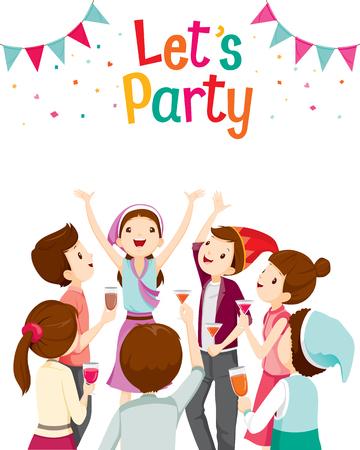 Man En Vrouw Pret In partij, partij, collectieve partij, banket, Feest, Company, Celebration