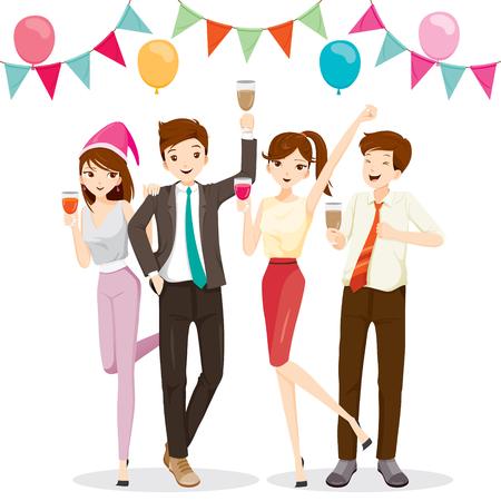 Hombre y mujer que se divierten en la fiesta con la bebida, fiesta, fiesta corporativo, banquete, fiesta, la empresa, la celebración Ilustración de vector