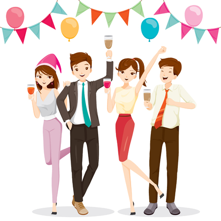 banquet: Man And Woman Fun In Party With Drink, Party, Corporate Party, Banquet, Feast, Company, Celebration