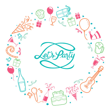 feast: Party Letter And Icons On Round Frame, Calligraphy, Letter, Party, Banquet, Feast, Celebration