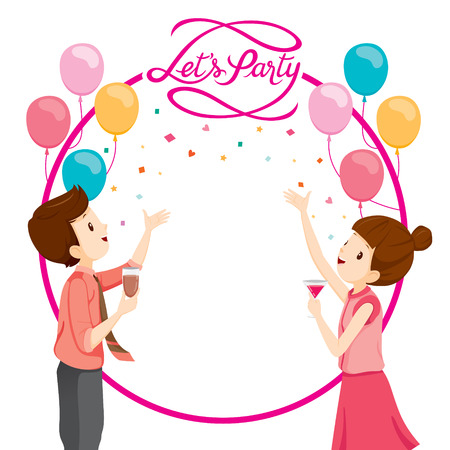 shapes cartoon: Man And Woman Happy With Party Decoration, Party, Corporate Party, Banquet, Feast, Company, Celebration