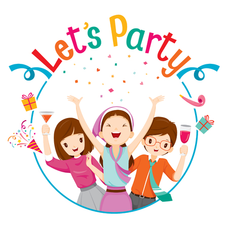 celebration party: Man And Woman Fun In Party With Circle Frame, Party, Corporate Party, Banquet, Feast, Company, Celebration