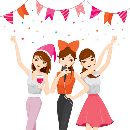 party drinks: Woman Fun In Party With Drinks, Singing, Dancing, Drinking, Party, Corporate Party, Banquet, Feast, Company, Celebration Illustration