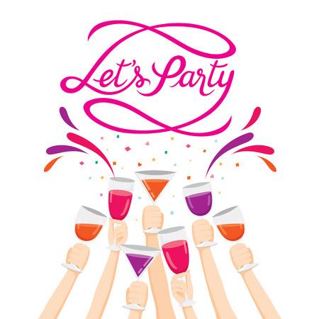 Podniesionymi rękami z napojami, kieliszki do szampana, Party, Pozdrawiam List, Kaligrafia, Letter, przyjęcie, bankiet, uroczystość, uroczystość