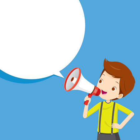 commercial event: Boy With Megaphone Announcement And Speech Bubble, Commercial, Promotion, Event, Ad, Marketing, Announcer Illustration
