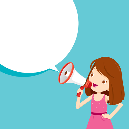 Girl With Megaphone Announcement And Speech Bubble, Commercial, Promotion, Event, Ad, Marketing, Announcer