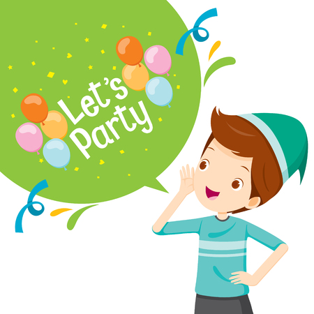 lets party: Boy Shouting And Speech Bubble With Lets Party Letter , Party, Banquet, Feast, Celebration, Corporate Party