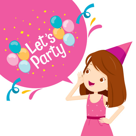 party cartoon: Girl Shouting And Speech Bubble With Lets Party Letter, Party, Banquet, Feast, Celebration, Corporate Party