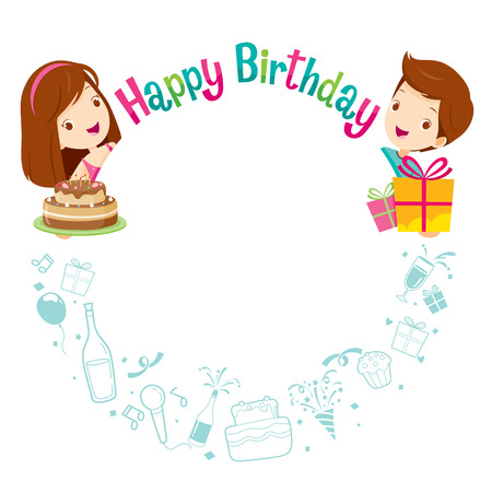 banquet: Boy, Girl And Icons With Birthday Circle Frame, Birthday Party, Banquet, Feast, Celebration, Gift Illustration