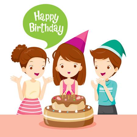 La muchacha y con la torta en la fiesta de cumpleaños, fiesta de cumpleaños, banquete, fiesta, celebración, regalo