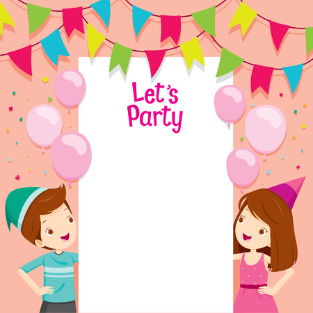 feast: Boy And Girl On Party Frame, Party, Banquet, Feast, Celebration, Corporate Party Illustration