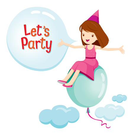 banquet: Girl Sitting On Balloon Flying On Sky, Party, Banquet, Feast, Celebration, Corporate Party Illustration