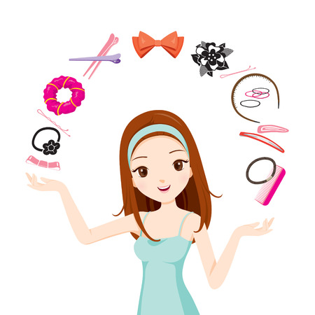 Girl With Hair Accessories, Accessories, Coiffure, Hairdressing, Beauty, Hairdo, Lifestyle, Fashion Illustration
