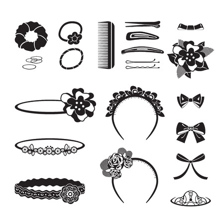 black barber: Hair Accessories Object Set, Headband, Comb, Hairpin, Hair Elastic