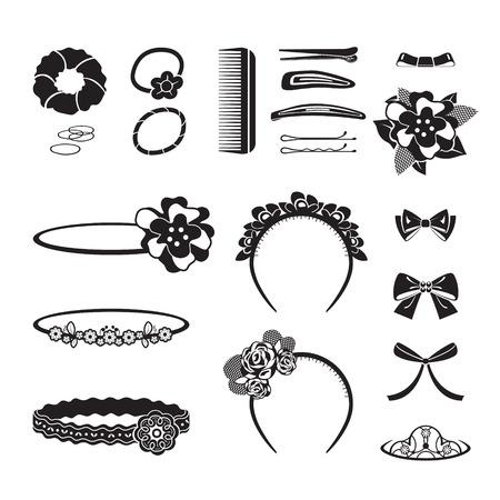 hairpin: Hair Accessories Object Set, Headband, Comb, Hairpin, Hair Elastic