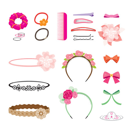 flexible girl: Hair Accessories Object Set, Headband, Comb, Hairpin, Hair Elastic