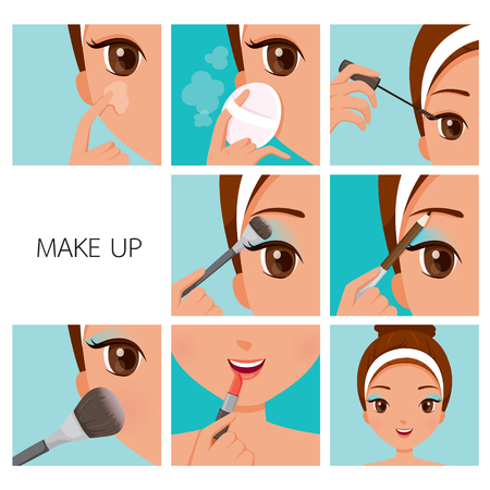 pencil cartoon: Step To Make Up For Woman With Tanned Skin, Facial, Beauty, Cosmetic, Makeup, Health, Lifestyle, Fashion