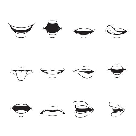 dientes caricatura: Bocas conjunto con diversas expresiones, monocromo, �rgano, emoji, la expresi�n facial, rostro humano, sentimiento, estado de �nimo, la personalidad, s�mbolo