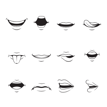 facial expression: Mouths Set With Various Expressions, Monochrome, organ, emoji, facial expression, human face, feeling, mood, personality, symbol