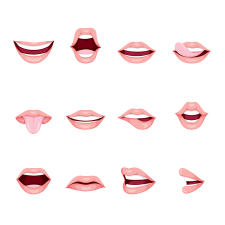 Mouths Set With Various Expressions, organ, emoji, facial expression, human face, feeling, mood, personality, symbol