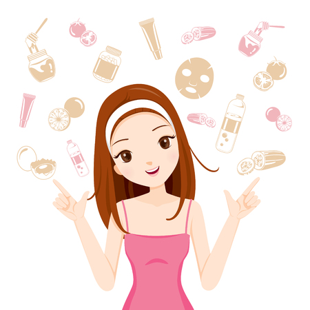 Girl With Health Skin Face And Body Icons Set, Facial, Beauty, Cosmetic, Makeup, Health, Lifestyle, Fashion 일러스트