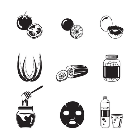 pimple: Health Skin Face And Body Icons Set, Monochrome, Facial, Beauty, Cosmetic, Makeup, Health, Lifestyle, Fashion Illustration