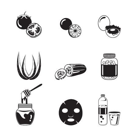 pulizia viso: Viso Salute e icone organismo istituito, in bianco e nero, viso, bellezza, estetica, trucco, Salute, Lifestyle, Moda