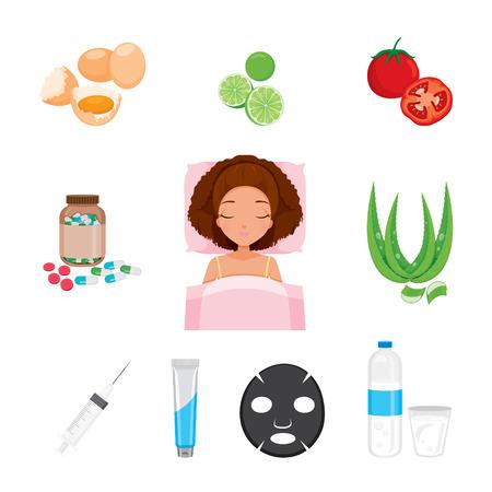 pulizia viso: Viso Salute e icone del corpo Set, viso, bellezza, estetica, trucco, Salute, Lifestyle, Moda Vettoriali