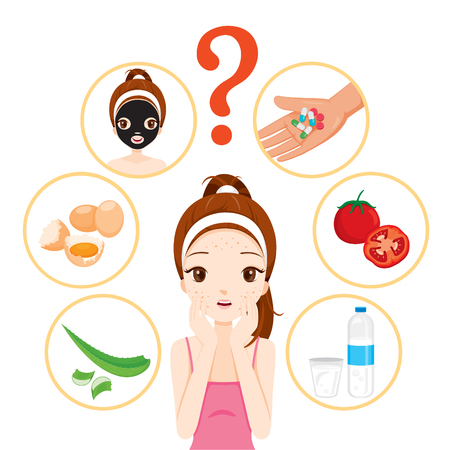 woman hygiene protection: Girl With Pimples On Her Face And Skin Face Icons Set, Facial, Beauty, Cosmetic, Makeup, Health, Lifestyle, Fashion
