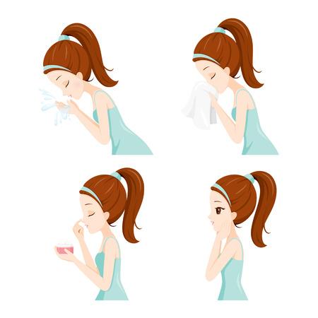pulizia viso: Vista laterale della ragazza pulizia e la cura Her Face Set, viso, bellezza, estetica, trucco, Salute, Lifestyle, Moda Vettoriali