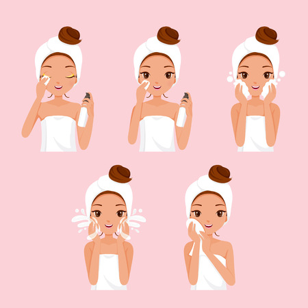 towel: Girl Cleaning And Care Her Face With Various Actions Set, Facial, Beauty, Cosmetic, Makeup, Health, Lifestyle, Fashion Illustration
