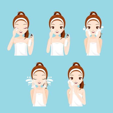Chica de limpieza y cuidado la cara con las distintas acciones, En la cara, belleza, cosméticos, maquillaje, salud, estilo de vida, moda Ilustración de vector