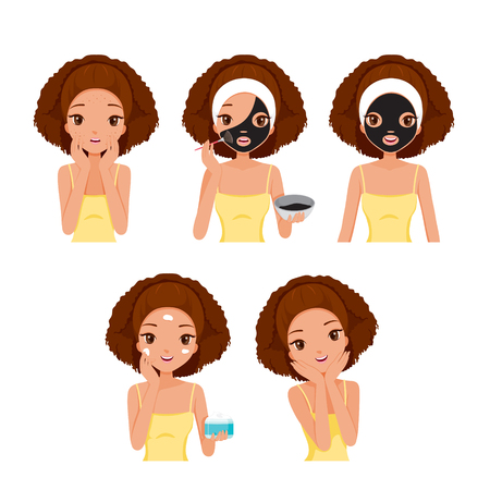 woman washing hair: Girl Cares And Protects Her Face With Various Actions Set, Facial, Beauty, Cosmetic, Makeup, Health, Lifestyle, Fashion