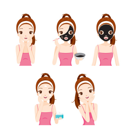 Girl Cares And Protects Her Face With Various Actions Set, Facial, Beauty, Cosmetic, Makeup, Health, Lifestyle, Fashion