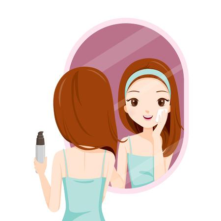 pulizia viso: Ragazze Scrubbing il viso e vedere se stessa in specchio, viso, Bellezza, Pelle, cosmetici, trucco, Salute, Lifestyle, Moda Vettoriali