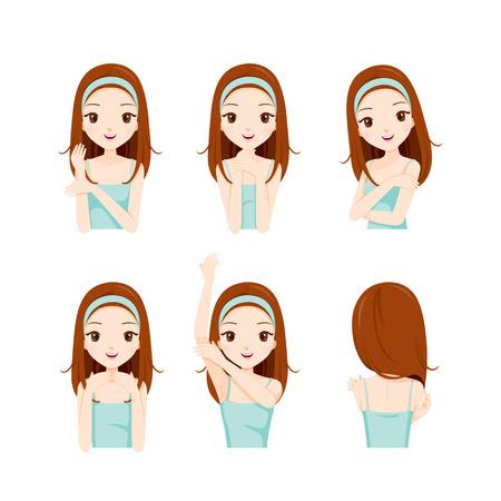 Dziewczyna Pielęgnacja skóry i ustawić ciała, twarzy, urody, skóry, kosmetyki, makijaż, zdrowie, Lifestyle, Moda Ilustracje wektorowe