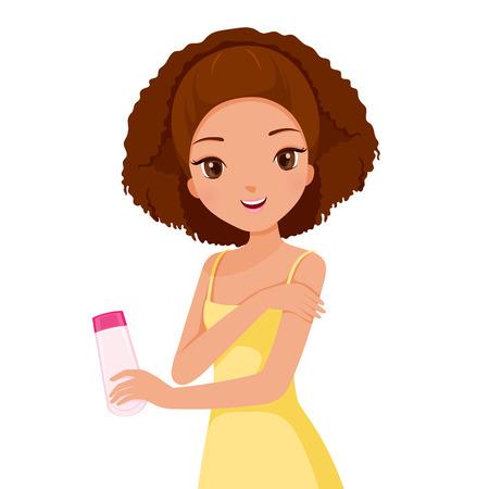 woman washing hair: Girl Holding Beauty Packaging And Scrubbing On Skin, Facial, Beauty, Skin, Cosmetic, Makeup, Health, Lifestyle, Fashion Illustration