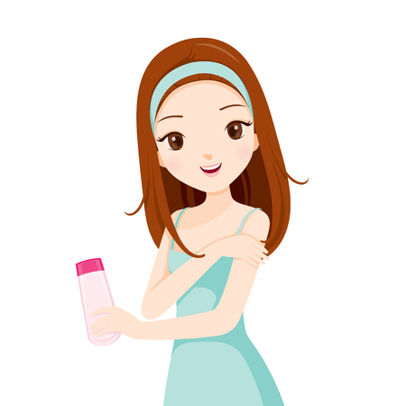 pulizia viso: Packaging Girl Holding di bellezza e lavaggio la pelle del viso, Bellezza, Pelle, cosmetici, trucco, Salute, Lifestyle, Moda Vettoriali