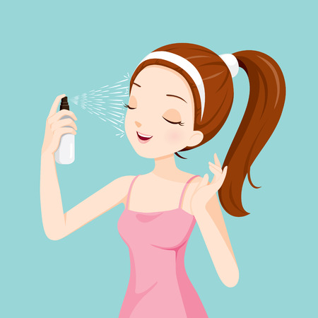 woman hygiene protection: Girl Spraying Mineral Water On Her Face, Facial, Beauty, Skin, Cosmetic, Makeup, Health, Lifestyle, Fashion Illustration
