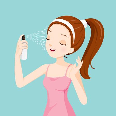 Niña de pulverización de agua mineral en su cara, facial, la belleza, la piel, cosméticos, maquillaje, salud, estilo de vida, moda