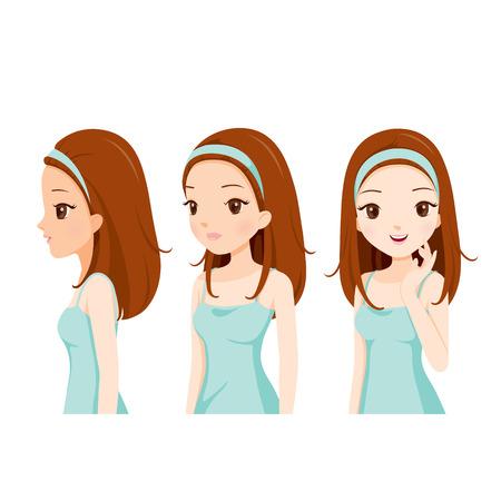 Mädchen mit Farben-Haut-Schritt, Gesichts-, Schönheit, Haut, Kosmetik, Make-Up, Gesundheit, Lifestyle, Mode Vektorgrafik