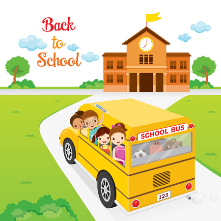 Children Going To School By School Bus , Back to school, Educational, Stationery, Book, Children, Knowledge, School Supplies, Educational Subject  イラスト・ベクター素材