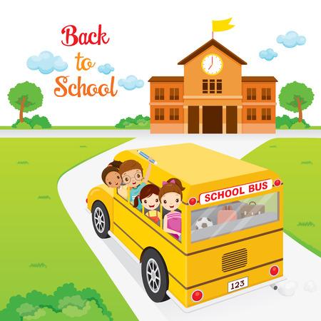 transporte escolar: Los niños ir a la escuela en autobús escolar, de nuevo a la escuela, la Educación, la papelería, libros, niños, conocimiento, fuentes de escuela, tema educativo