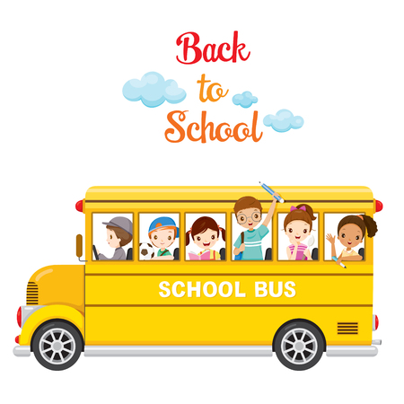 아이들은 다시 학교로, 학교 버스에서 즐길 수, 교육, 문구, 도서, 어린이, 기술, 학교 용품, 교육 주제 일러스트
