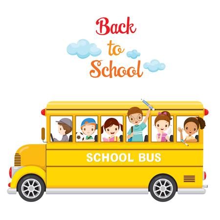 infancia: Los niños disfrutan en el autobús escolar, de nuevo a la escuela, la Educación, la papelería, libros, niños, conocimiento, fuentes de escuela, tema educativo