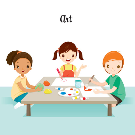 Children Relaxing In Art Class, Back to school, Educational, Stationery, Book, Children, Knowledge, School Supplies, Educational Subject