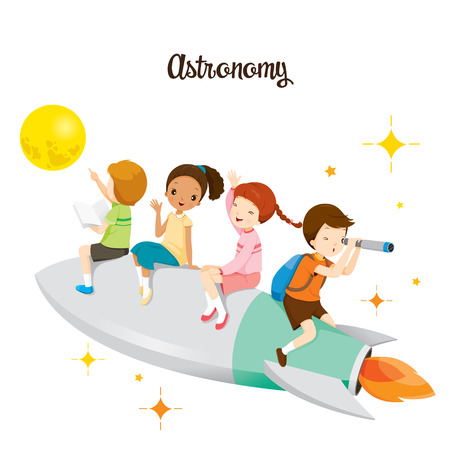 Children Sitting On Rocket, Going To The Moon, Back to school, Educational, Stationery, Book, Children, Knowledge, School Supplies, Educational Subject Vectores