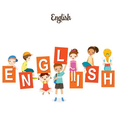 Dzieci z angielskimi literami, powrót do szkoły, edukacyjne, materiały piśmienne, książka, dzieci, wiedza, materiały szkolne, przedmiot edukacji